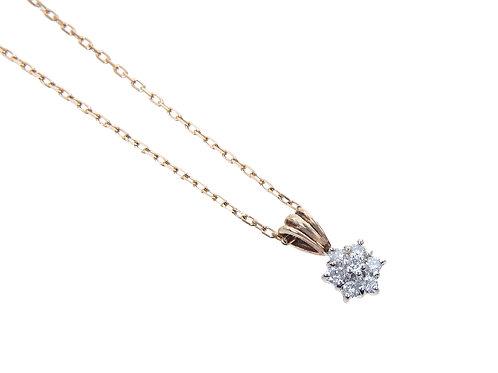 9ct Yellow Gold Diamond Flower Pendant & Chain 0.25ct