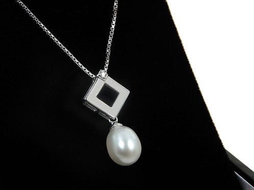 9ct White Gold Diamond & Pearl Dropper Necklace