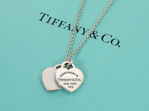 Genuine Tiffany & Co Double silver Mini Hearts Sterling Silver Necklace In Box