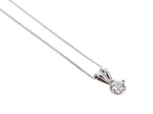 18ct White Gold Diamond Solitaire Pendant & Chain 0.25ct