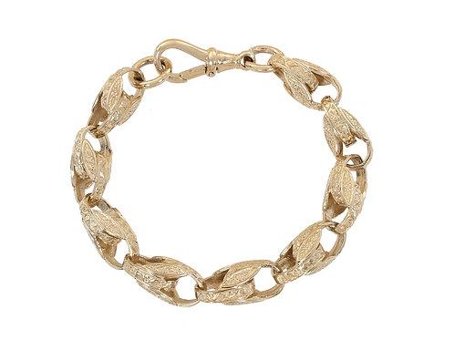 9ct Gold Patterned Tulip Bracelet 22.8g