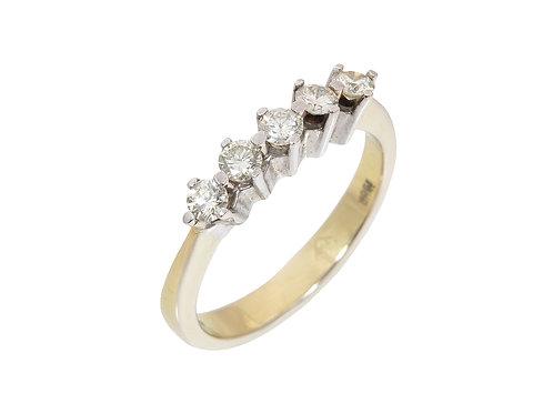 18ct Yellow Gold 5 Stone Diamond Ring 0.50ct
