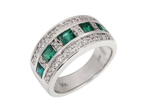 14ct White Gold Emerald & Diamond Dress ring