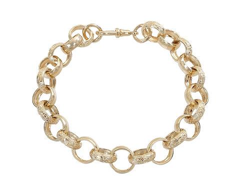 9ct Gold Plain and Patterned Belcher Bracelet 27.3g