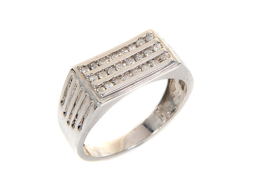 Gents 9ct White Gold & Diamond Ring 0.25ct