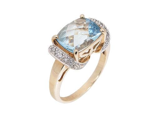 9ct Yellow Gold Topaz & Diamond Dress Ring