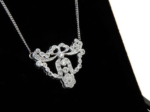 Art Nouveau Style 9ct White Gold & Diamond Necklace