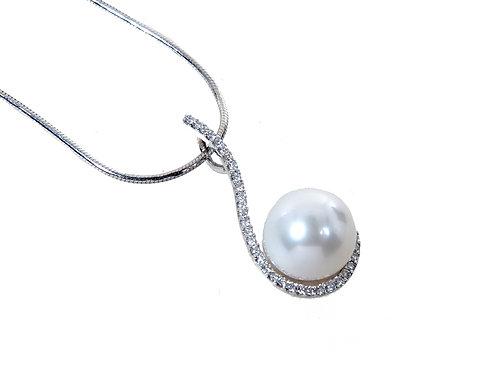 18ct White Gold Diamond, Pearl Pendant & Chain