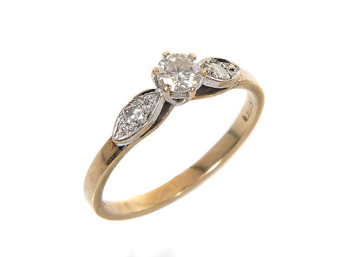 Vintage 9ct Yellow Gold Diamond Solitaire Ring 0.25ct