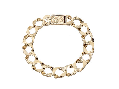 9ct Gold Plain and Patterned Curb Bracelet 24.5g