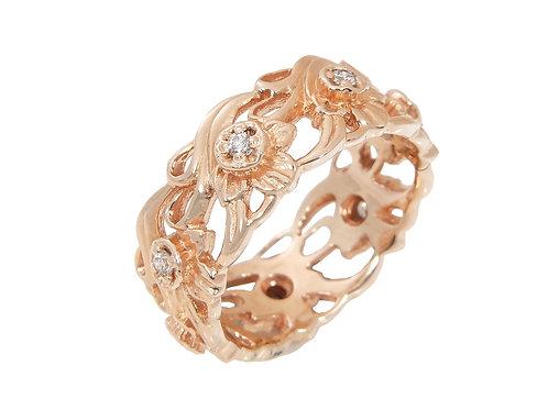 Clogau 14ct Rose Gold & Diamond Daffodil Ring