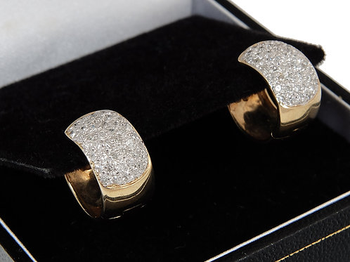 9ct Yellow Gold Pave Set Diamond Small Hoop Earrings