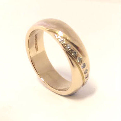 Ladies 18ct Fancy Wedding Ring Rose Gold & Diamonds