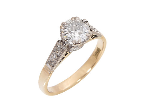 Vintage 18ct Yellow Gold Diamond Solitaire Ring 0.76ct