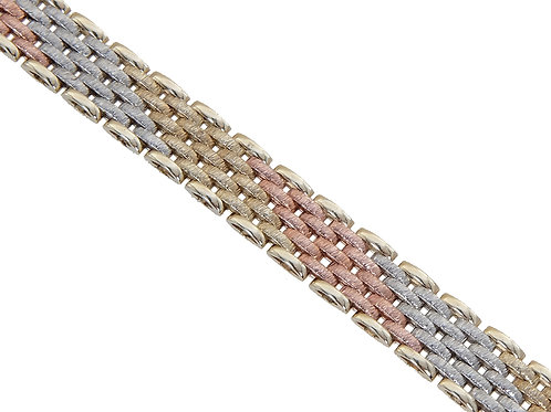 9ct Tri-Gold Panther Link Chain Set 43.3g