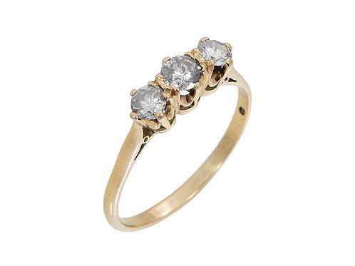 18ct Yellow Gold Diamond Trilogy Ring 0.75ct