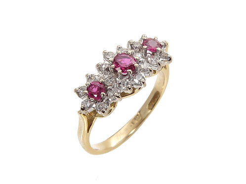 18ct Vintage Ruby & Diamond Dress Ring