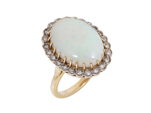 18ct Yellow Gold Huge Opal & Diamond Ring 13ct in Total