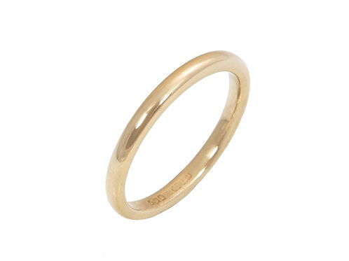 18ct Yellow Gold Wedding Ring Uk Size M Width 2.2mm