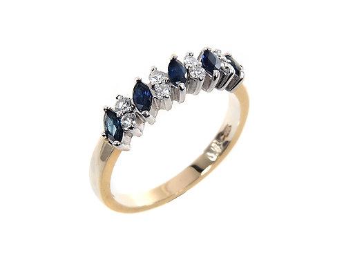 9ct Yellow Gold Diamond & Sapphire Dress Ring