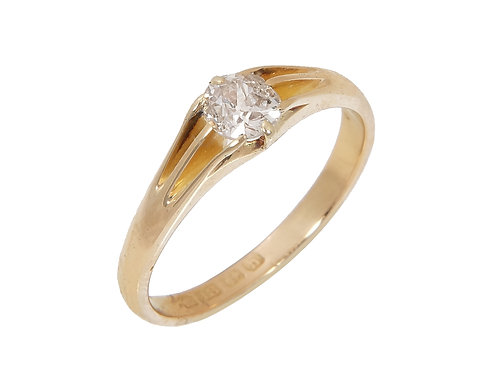 Edwardian 18ct Yellow Gold Diamond Solitaire Ring 0.60ct