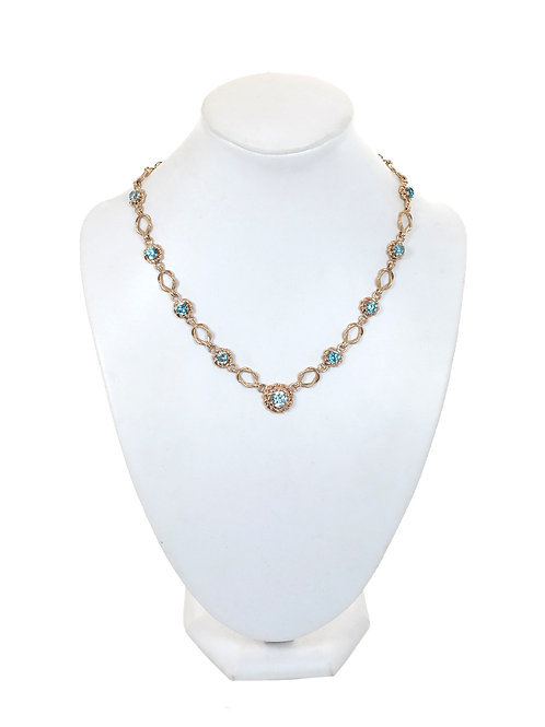 V9ct Yellow Gold Topaz Ladies Necklace Vintage