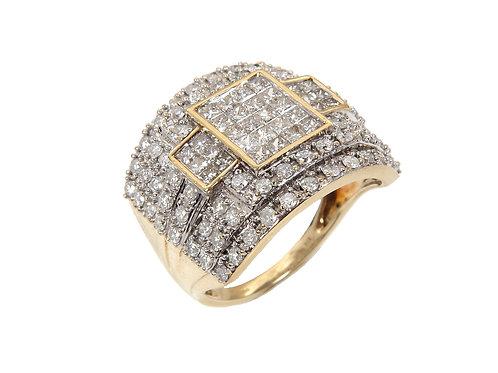9ct Yellow Gold Large Diamond Ring 1.50ct
