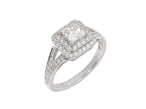 18ct White Gold Diamond Halo Ring 0.90ct