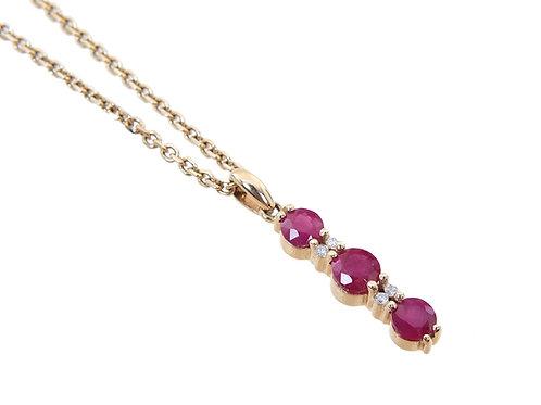 14ct Yellow Gold Diamond & Ruby Pendant & Chain