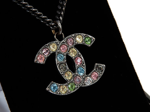 Chanel Multi Coloured  Crystal Large CC  Necklace