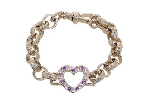 9ct Childrens CZ Heart Plain & Patterned Belcher Bracelet 15.2g