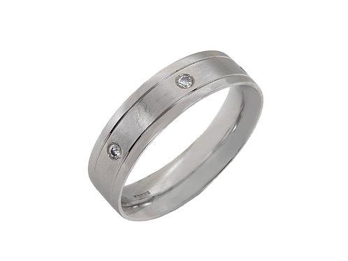 Gents 3 Diamond Platinum Ring Uk Size U