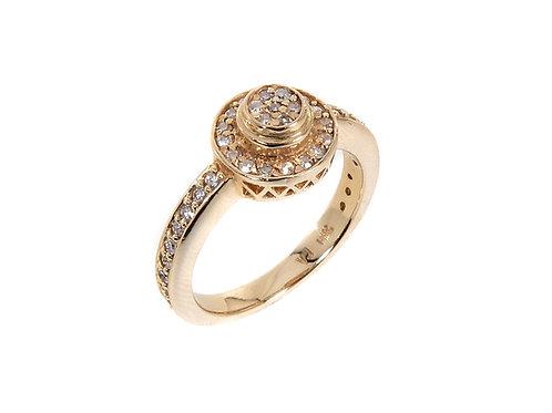 14ct Yellow Gold Diamond Halo Ring 0.50ct
