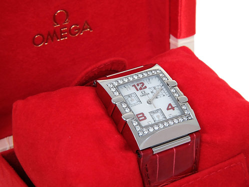 OMEGA Constellation Quadra Diamonds Alligator Strap Chronograph Ladies Watch