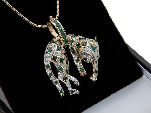 14ct Yellow Gold Emerald & Diamond Leopard Pendant & Chain