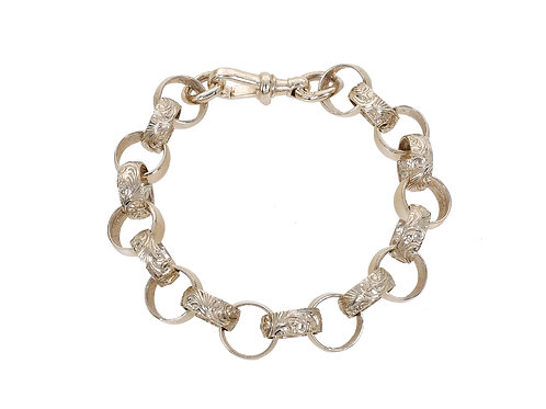 9ct Yellow Gold Plain and Patterned Belcher Bracelet 37.1g