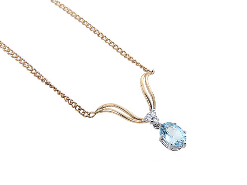 9ct Yellow Gold Blue Topaz & Diamond Necklace