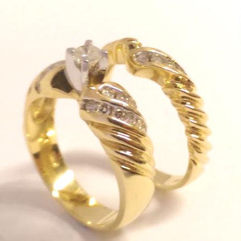 14ct Gold  Diamond Wedding &  Engagement Ring Set 0.40ct