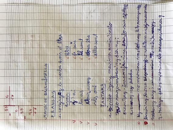 page d'un cahier scolaire