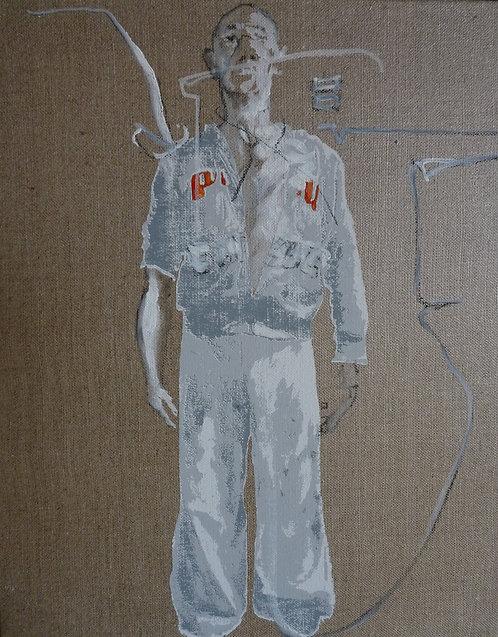 595 PERSPECTIVE 2012, Huile & Sérigraphie sur lin, 41x33