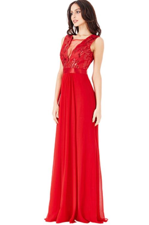 Red maxi dress accessories