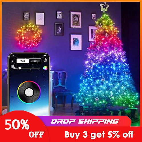 Christmas Tree Decoration Lights Customized Smart Bluetooth LED Personalized