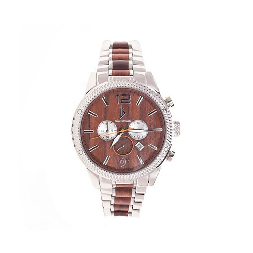 Bean & Vanilla Chronograph - Red Sandalwood w/ Stainless Steel - Mens Wood Watch