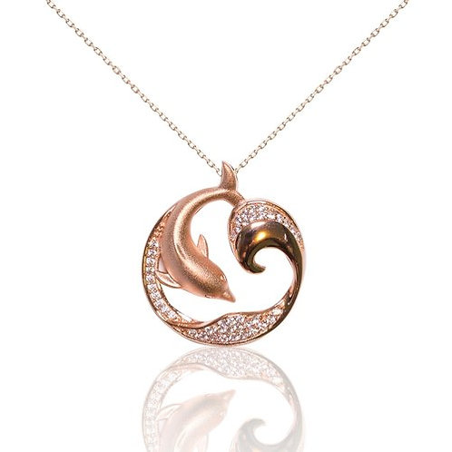Bean & Vanilla Dolphin Wave Pendant with Chain - Rose Gold