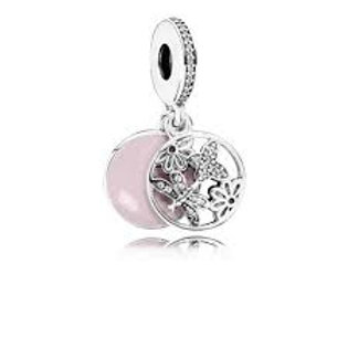 Pandora Silver Dangle with Clear Cubic Zirconia and Pink Enamel