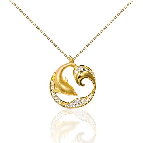 Bean & Vanilla Dolphin Wave Pendant ONLY - Yellow Gold