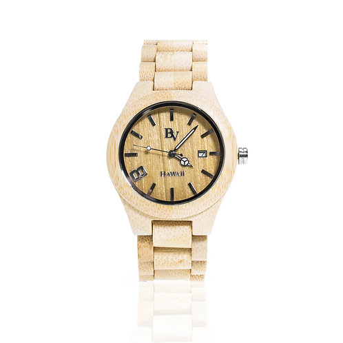 Bean and Vanilla Wave Rider - Bamboo - Mens Wood Watch