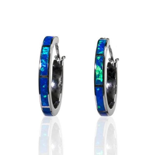 Bean & Vanilla Stella Hoop Earrings - Bright Blue & White Opal