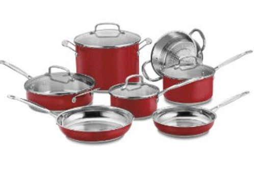 Cuisinart 10 Pc Classic Collection Stainless Steel Metallic Red Cookware Set