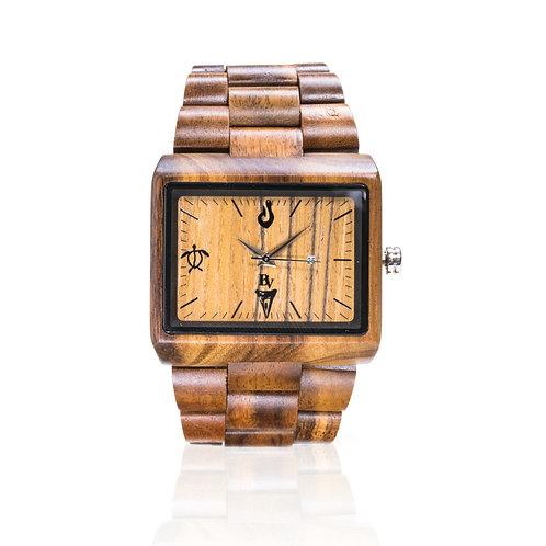 Bean and Vanilla Spear - Koa Wood - Square Mens Wood Watch, Brown